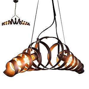 Schmiedeeisen Hängelampe Retro Industrie Wind Metall Pendellampe Höhenverstellbar 2Xe27 Kronleuchter Kreativ Mode Antik Pendelleuchten Bar Café Restaurant Schlafzimmer Wohnzimmer Korridor
