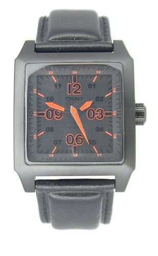 DKNY NY1310 Gents Analogue Watch, Black Stainless Steel Case with Black Dial, Orange Hands & Indexes & Black Leather Strap