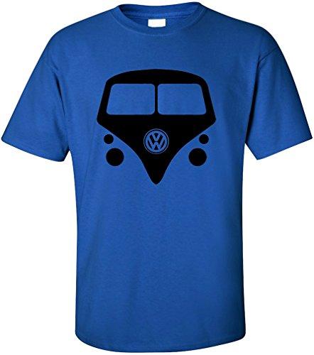 PAPAYANA Herren T-Shirt - VW BULLY - Flower Power 60s 70s Kult Sub Samba Royalblau