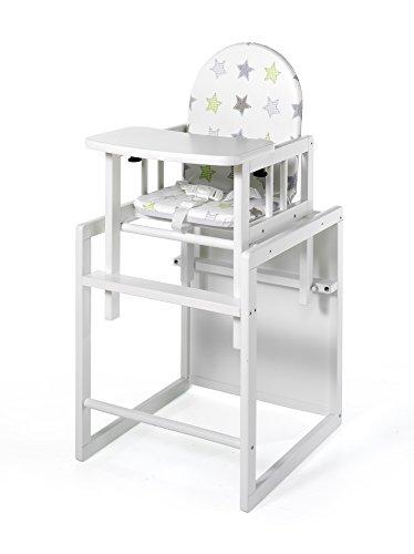 Geuther - Kombi-Hochstuhl Nico, zweifache Nutzung als Kinder-Stuhl- und Tisch-Kombination oder Hochstuhl, TÜV geprüft, hoher Rücken, mit Sicherheitsgurt, weiß, Sterne - Hochstuhl Tisch