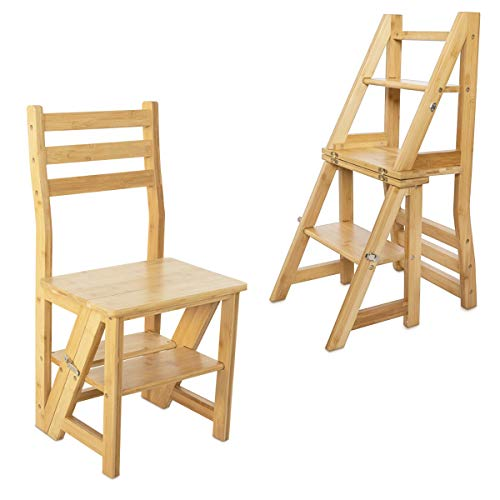 Navaris Folding Step Ladder Chair - Wooden Foldable Ladder Stool Shelf - Library Steps Bookshelf Plant Stand for Storage and Decoration - Bamboo Wood