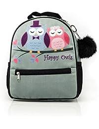 Preisvergleich für Eulen HAPPY OWLS COLLECTION Rucksack mit Eulen mit pom-pon bunte Eulen Schulrucksack mit pom-pon für ein Mädchen...