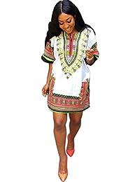 Vestido para mujer - Sannysis vestido fiesta vestido kimono vestido largo, Imprimir tradicional africana