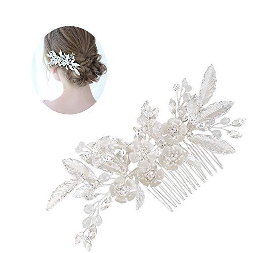 roroz Hochzeit Haarspangen für die Braut, Silber gemalt Blumen Strass Elegantes Haar Kamm, Brautkleid Abendessen Zubehör 2019, Silver