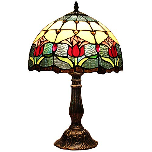 Chinese dragon18 inch Tulip Tiffany Style Stained Glass Table Lamp with Metal Base -