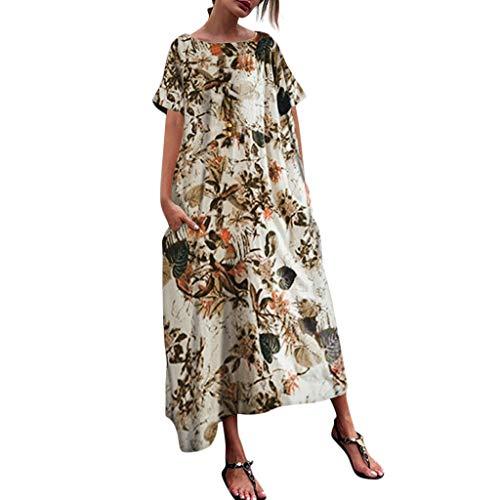 kolila Damen Plus Size Leinenkleid Sommer Sale Womens Casual Oansatz Ethnic Style Floral Printed Kurzarm Unregelmäßigkeit Vintage Dress Bluse Tops Übergroßen XXXXXL