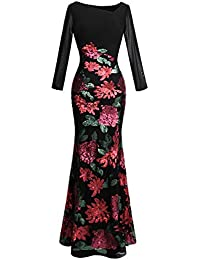 Angel-fashions Mujer Peplum Vestido de Noche Lentejuelas Flores