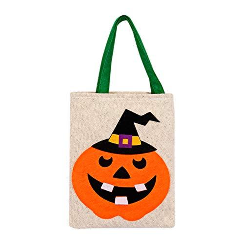 Mitlfuny Halloween coustems Kürbis Hexe Cosplay Gast Ghost Schicke Party Halloween deko,Kürbislaterne-Segeltuch-Einkaufstasche-Frauen-große Käufer-Tragetasche (50er Jahre Kostüm Requisiten)