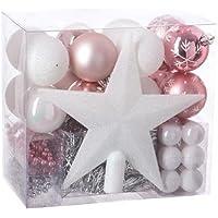 Lot déco Noël - Kit 44 pièces pour décoration sapin : Guirlandes, Boules et Cimier - Thème couleur : Blanc & Rose.