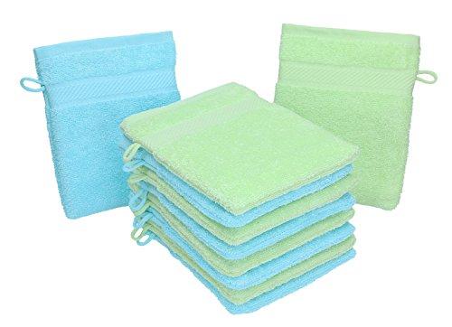 Betz Lot de 10 gants de toilette PALERMO 100% coton taille 16x21 cm couleur: vert & turquoise
