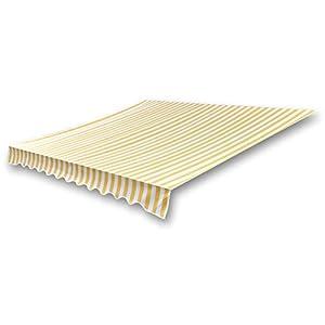 vidaXL Markisenstoff Sonnenschutz Markisentuch Gelb & Weiß 4×3 m (ohne Rahmen)