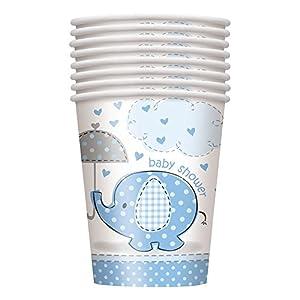 Unique Party- Vasos de Papel Baby Shower con Elefante, 8 Unidades, Color azul, 266 ml (41696)