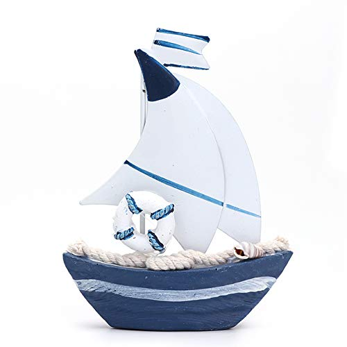 Crazystore mediterraner Stil kleines Segelboot Modell Home Deko Kunst Basteln Retro Tisch Ornamente Elegant Schlafzimmer Desktop Kunst Exquisite Eisen Harz Geschenk für Jungen und Mädchen, Style 5