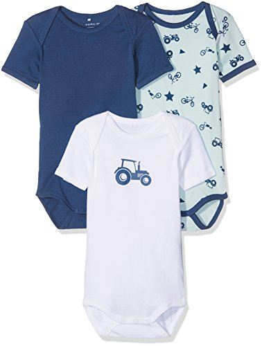 NAME IT Baby-Jungen Body Nmmbody 3P SS Ensign Blue Noos, 3er Pack, Mehrfarbig (Ensign Blue), 98