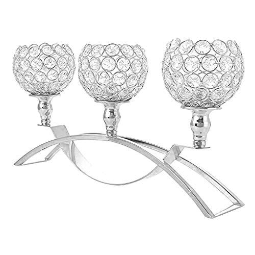 TianranRT❄Nozze di titolari di candela della colonna di cristallo per la decorazione della tabella del salone(Argento)