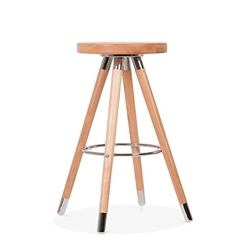 Cult Design Tabouret de Bar Moda CD2, Bois Massif, Naturel 65cm