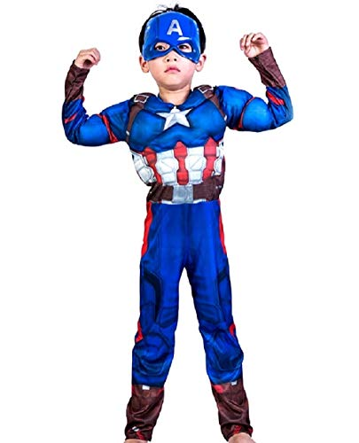 Lovelegis Größe S - 3-5 Jahre - Superheld Kostüm und Maske - Muskulöser Busen - Captain America für Kinder verkleiden Karneval Halloween Cosplay ()
