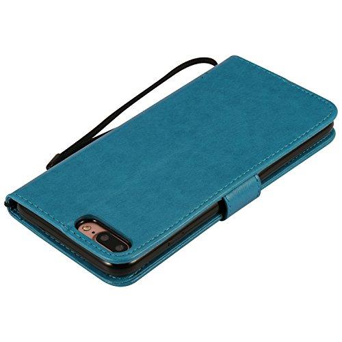 iPhone 5s / iPhone se / iPhone 5 Hülle,MOONESS Stand Hülle Schutzhülle PU Leder Flip Tasche Case mit Karte Halter und Magnetisch Flip Bumper Ledertasche(Grün) Blau