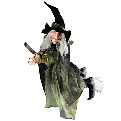 Hexe auf Besen Hexen Hängedeko 100 cm Halloweendekoration Hexenfigur Partydekoration Zauberin Grusel Dekoration Märchen Horror Partydeko Figur Monster