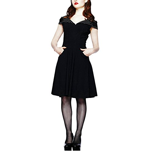 Robe dos nu Rockabilly points noirs Evie Hellbunny longueur genou Fifties pin-up Rockabella - L