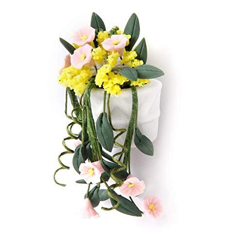 mxdmai Mini Wandbehang Vase Blumen für 1:12 Puppenhaus Ornament Miniatur Pflanzen PuppenstubeGgarten Zubehör Hängende Blumenkorb (Puppenhaus Miniatur-pflanzen)