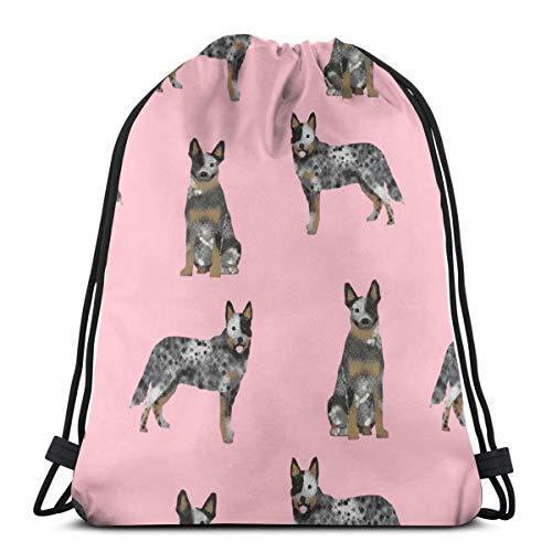 best gift Australian Cattle Dog Blue Coat for Cattle Dog Lover Pink_2697 Custom Drawstring Shoulder Bags Gym Bag Travel Backpack Lightweight Gym for Man Women 16.9