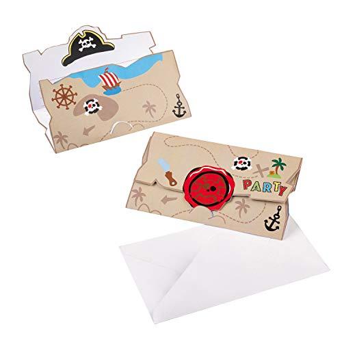 8 Einladungen * Little Pirates * für Kindergeburtstag und Motto-Party | Kinderpiraten Seeräuber Freibeuter Schatzsuche Kinder Geburtstag Mottoparty Einladungskarten Karten Umschläge Piraten