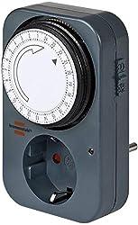 Brennenstuhl Zeitschaltuhr MZ 20, mechanische Timer-Steckdose (Tages-Zeitschaltuhr mit Kindersicherung) Farbe: grau