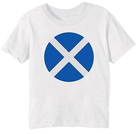 Écosse nationale Drapeau Enfants Unisexe Garçon Filles T-shirt Cou D'équipage Blanc Manches Courtes Taille XL Kids Unisex Boys Girls White X-Large Size XL