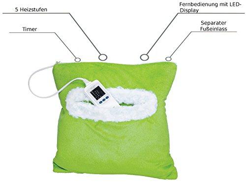 2in1 Fußwärmer | Elektrisches Heizkissen | Wärmekissen | Heizmatte | Fußheizung | Wärmetherapie | Rückenkissen | LED-Anzeige | 1 - 8 Stunden Abschaltautomatik | 5 Temperaturstufen | 40°waschbar