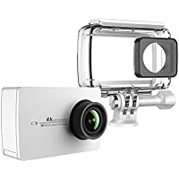 YI Action Camera 4k Action Cam con Custodia Impermeabile, Action Cam HD 4K / 30 fps, 1080p / 120 fps con Case Waterproof, Fotocamera Digitale 12 MP, WiFi (Bianco)