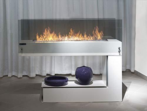 Moderner Design Biokamin Sined Fire Spectrum Doppelseitiger Standkamin Farbe Weiss mit 80 cm Brenner und getöntem Schutzglas Designkamin mit echtem Feuer Kein Schornstein erforderlich