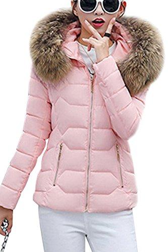 YMING Damen Übergangsjacke Stepp Jacke mit Kunstpelz Kapuze Warm Winterjacke Gefüttert Parka,Rosa-B,S