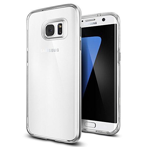 Samsung Galaxy S7 Edge Hülle, Spigen® [Neo Hybrid Crystal] Dual-Layer Schutzrahmen [Satin Silber] Metallisierte tasten / Durchsichtige TPU Schale + PC Farbenrahmen Schutzhülle für Samsung Galaxy S7 Ed S7 Edge - Neo Hybrid Satin Silver