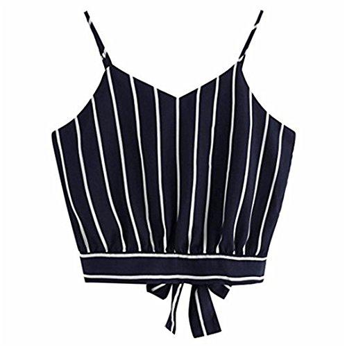 Camicia donna elegante,kword maglia donna scollo av senza maniche, camisole canotte e top,bluse e camicie,estate camicia camicetta, t-shirt in cotone,magliette (marina, s)