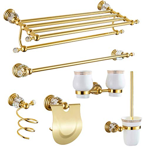 Mmyunx Edelstahl-Badezimmer-Wandset Mount Set-Stylish Brushed Nickel Hardware, Toilettenpapier Roll Holder, Doppelbade-Tschieferstange, Handtuch-Rack - Rustproof, Easy to Install,G - Moderne Nickel Bath Bar