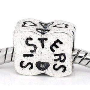 dea5c51b3 Believe Beads 1 x Sister Charm Bead will fit Pandora/Troll/Chamilia Style  Charm