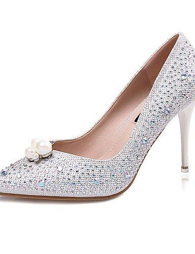 WSS 2016 Chaussures Femme-Décontracté-Noir / Blanc / Argent-Talon Aiguille-Talons-Talons-Laine synthétique white-us6.5-7 / eu37 / uk4.5-5 / cn37