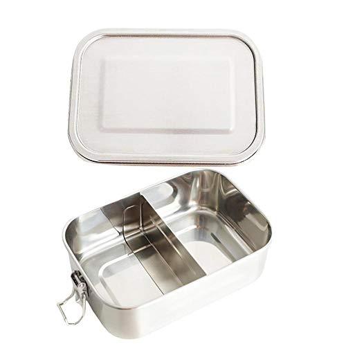 1200ML Lunch Snack Container Quadratisch geteilter Edelstahl Student Food Container Versiegelt Auslaufsicher Verschiedene Bereiche für das Mittagessen Unterwegs Umweltfreundlich Spülmaschinenfest -