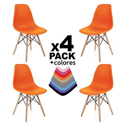 duehome Nordik - Pack 4 sillas, Silla de Comedor, Salon, Cocina o Escritorio, Patas Madera de Haya, Dimensiones: 47 x 56 x 81 cm de Altura (Naranja)