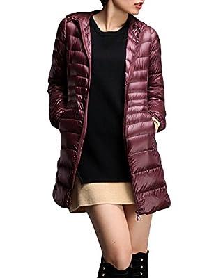 Damen Daunenmantel Ultra Leicht Parka Winter Jacke Lang Daunenjacke Steppjacke Übergangsjacke