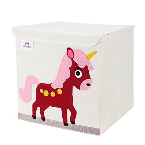 Meshela Aufbewahrungsbox und Organisator für Kinderspielzeug,Cartoon Aufbewahrungswürfel Leinwand faltbare Spielzeug Aufbewahrungsbox (Pferd)