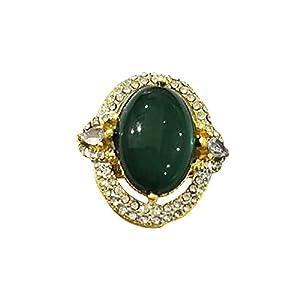 YSoutstripdu Damen Vintage Strass eingefasst künstlicher Smaragd Ring Hochzeit Party Schmuck Dekoration