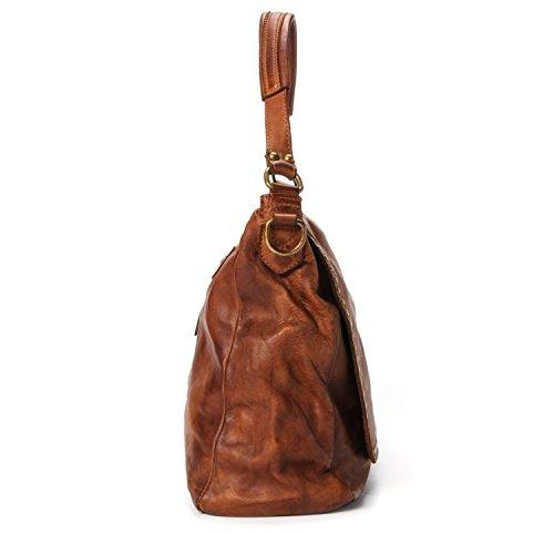 Ira del Valle, Borsa Donna, In Vera Pelle, Vintage, Modello Arizona, Made in Italy cognac