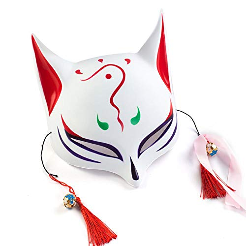 (wangwtry Leuchtende Maske Halloween EL Kaltes Licht glühen Maske LED Leuchten Cosplay Maske Radiance Fuchs Maske für Festival Kostüm Party Show)