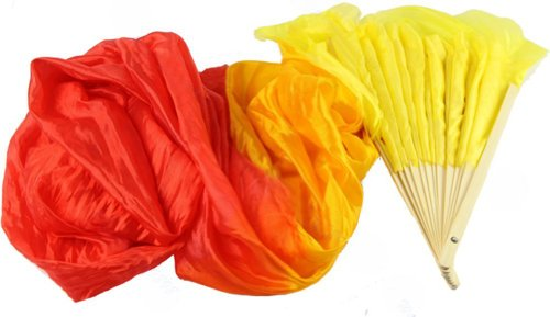 the-cheers-4-colors-colorful-hand-made-belly-dance-dancing-silk-bamboo-long-fans-veils-yellow-orange