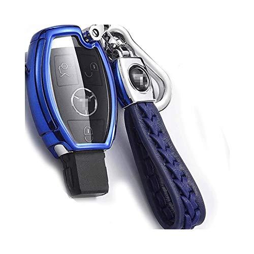 JUNHAO Autoschlüsseletui für 18 Mercedes-Schlüsseltasche C200l / c-Class Autoschlüsselsatz Glc260 All-Inclusive Glk300 / gla200 Schwarz Rot Blau Silber Optional,Blue