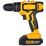 Extaum 2-Speed Cordless Drill Driver Impact Hammer Drill 2 Batteries Fast Charger 25+1 Clutch Max 40Nm Torque Variable Speed