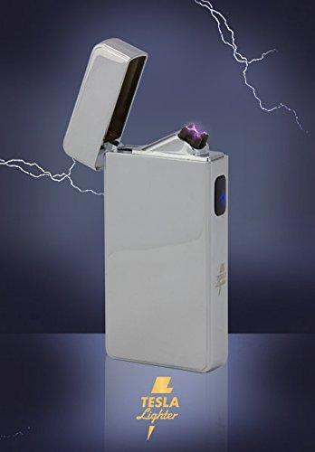 Tesla-Lighter T13 Lichtbogen Feuerzeug Cigar & Cigarette Edition Double-Arc elektronisch wiederaufladbar. Aufladbar per USB mit Strom ohne Gas und Benzin. Mit Ladekabel in edler Geschenkverpackung Silber