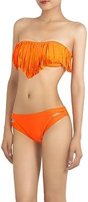 iB-iP Mujer Puro Color Borla Flecos Bandeau P De Poca Altura Conjunto De Bikini